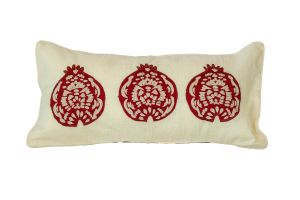 Embroidered CUSHION – Pomegranates 60x30 - Red