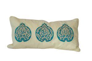 Embroidered CUSHION – Pomegranates 60x30 - Turquoise