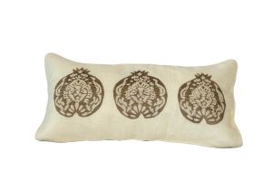 Embroidered CUSHION – Pomegranates 60x30 - Brown