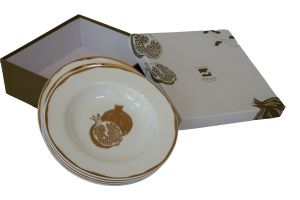 POMEGRANATE SOUP PLATES - 8.5 INCH GOLD & WHITE
