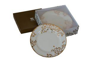 POMEGRANATE DESSERT PLATES - 7.5 INCH GOLD & WHITE