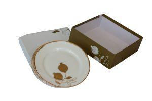 POMEGRANATE SALAD PLATES - 6 INCH, GOLD & WHITE