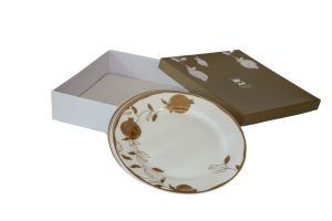 POMEGRANATE PLATES with Box - 10.5 INCH GOLD & WHITE