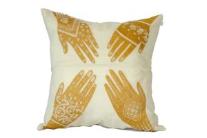 Embroidered Cushion – Henna Hands 50x50 - GOLD