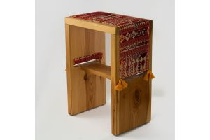 Wooden Table with Embroidered Cover