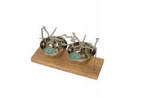 COPPER STAND HOLDER WITH ARABIC CALLIGRAPHY & SILVER BOWLS