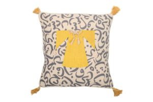 CUSHION - CALLIGRAPHY AND DRESS-Yellow