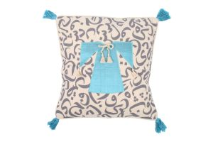 CUSHION - CALLIGRAPHY AND DRESS-Blue