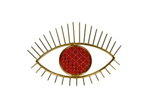 Metal Eye Wall Hanging with Embroidery-Red