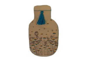 Embroidered Rubber Water Bag-Blue