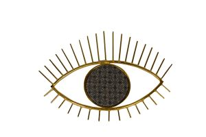 Metal Eye Wall Hanging with Embroidery-Grey
